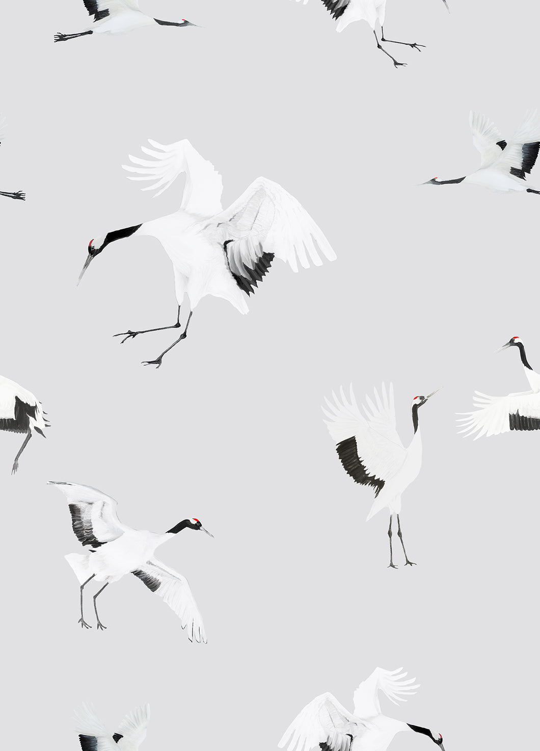 Storks Wallpaper - Grey/Blue