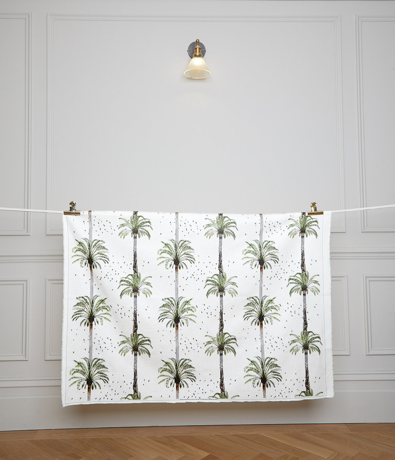 Palms White Fabric Sample