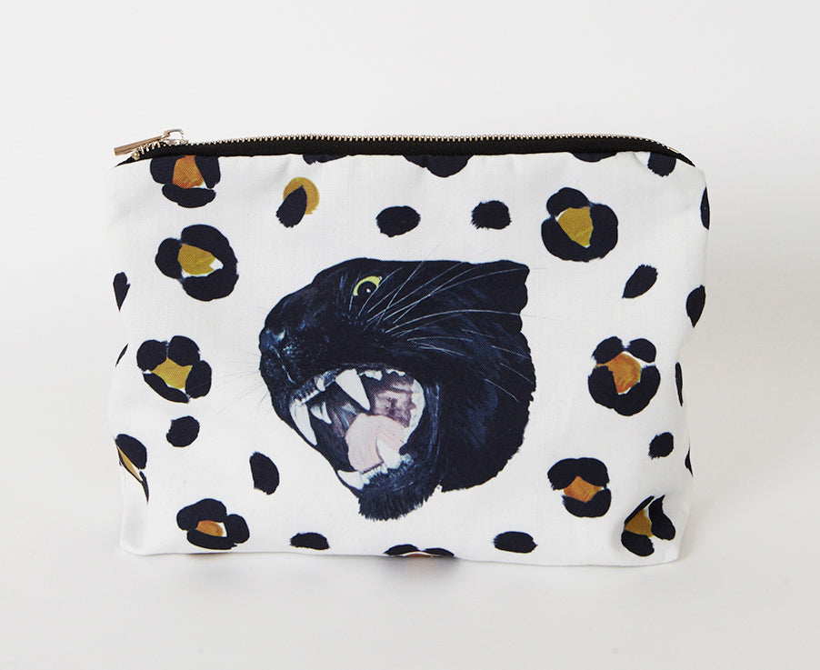 Panther leopard print swag bag to fit everything in from snacks to toiletries.