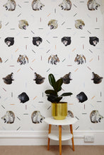 grey wallpaper with tigers, gorilla's and bears. Lots of safari animals perfect for a boys bedroom who loves his safari animal beasts.