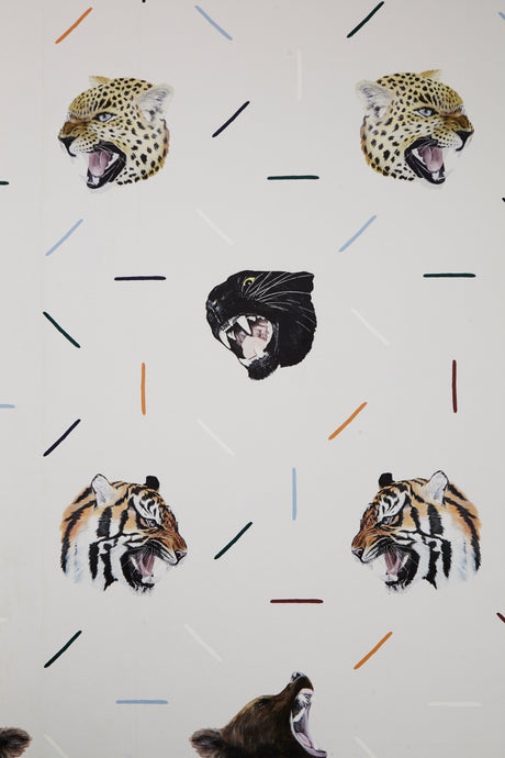 fabric for a boys bedroom great for curtains or blinds, sleep with the safari animals tigers, bears, jaguars and leopards