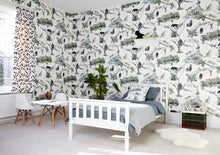 jungle wallpaper and matching fabric is available for your children's bedroom or playroom.  Inspired to ignite the imaginations, play with the gorillas and the moneys in the jungle!