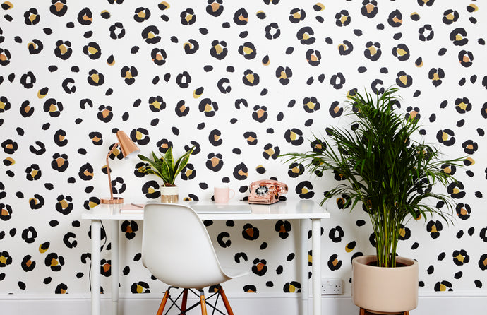leopard print wallpaper in tan is perfect for a study, bedroom or dressing room, it's modern and cool - everyone loves it!