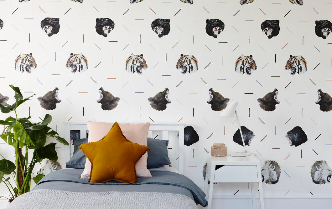Roaring Beasts wallpaper with tigers, bears, jaguars, lions, gorillas modern and cool for a teenagers bedroom or kids playroom.
