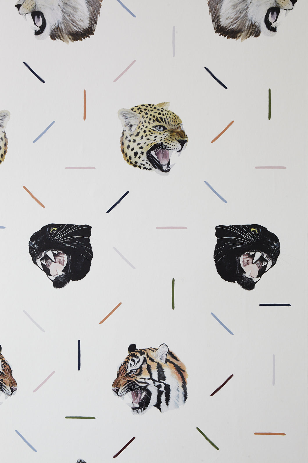 100% cotton animal fabric with tigers, jaguars and lions