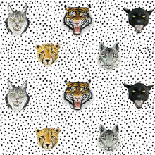 This fabric is unisex, it's so cool and modern, tigers, jaguars, and snow leopards are roaring on a monochrome base. Perfect for a kids bedroom or nursery.