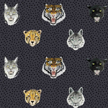 This wallpaper is unisex, it's so cool and modern, tigers, jaguars, and snow leopards are roaring on a navy blue base. Perfect for a kids bedroom or nursery.