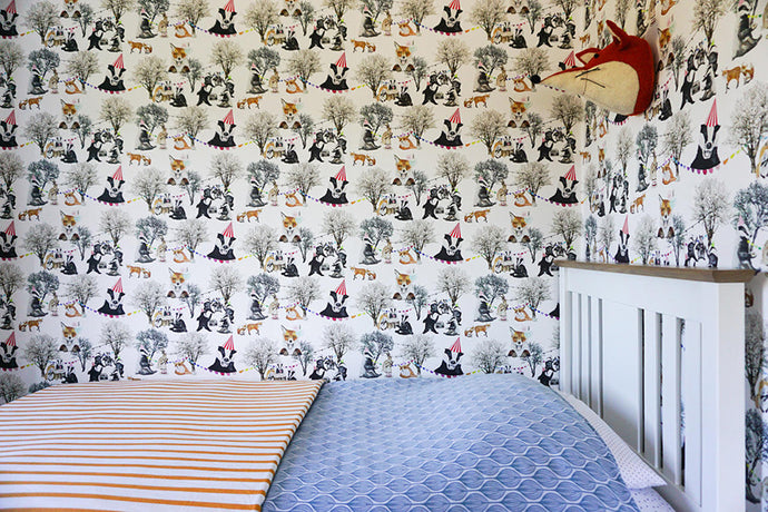foxes and badgers, tea party, cool kids bedroom and playroom wallpaper.  Perfect for a unisex room.