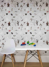 kid's grey alphabet wallpaper with unicorns, animals, monkeys, bears, sharks perfect for a bedroom, playroom or nursery.