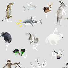 Our cool modern children's colourful A to Z animal alphabet wallpaper is perfect for your kids's bedroom or baby's nursery. It features unicorns, sharks, bears.