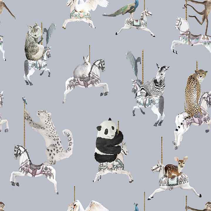 Wallpaper sample in light blue with snow leopards, pandas, monkeys, peacocks, perfect for a beautiful pretty modern girls bedroom or playroom.  Hand painted designs.
