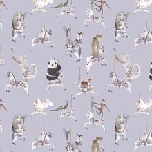 Wallpaper sample in light blue with leopards, pandas, monkeys, peacocks, perfect for a beautiful pretty modern girls bedroom or playroom.  Hand painted designs.