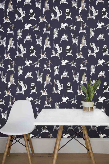 Wallpaper sample in navy with snow leopards, pandas, monkeys, peacocks, perfect for a beautiful pretty modern girls bedroom or playroom.  Hand painted designs.