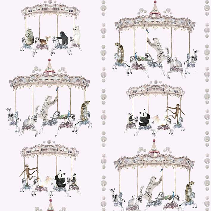fabric sample in blush pink with sea shells, pandas, monkeys, peacocks, perfect for a beautiful pretty modern girls bedroom or playroom.  Hand painted designs.
