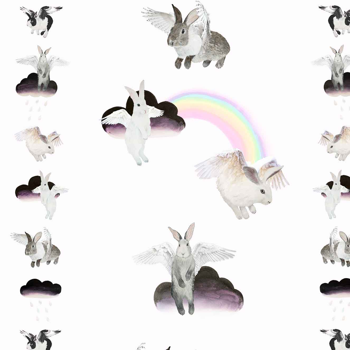 Flying Bunnies wallpaper is a children's dream bedroom or nursery scheme; fluffy bunny rabbits, soft sugary rainbows, and ombre watercolour clouds.