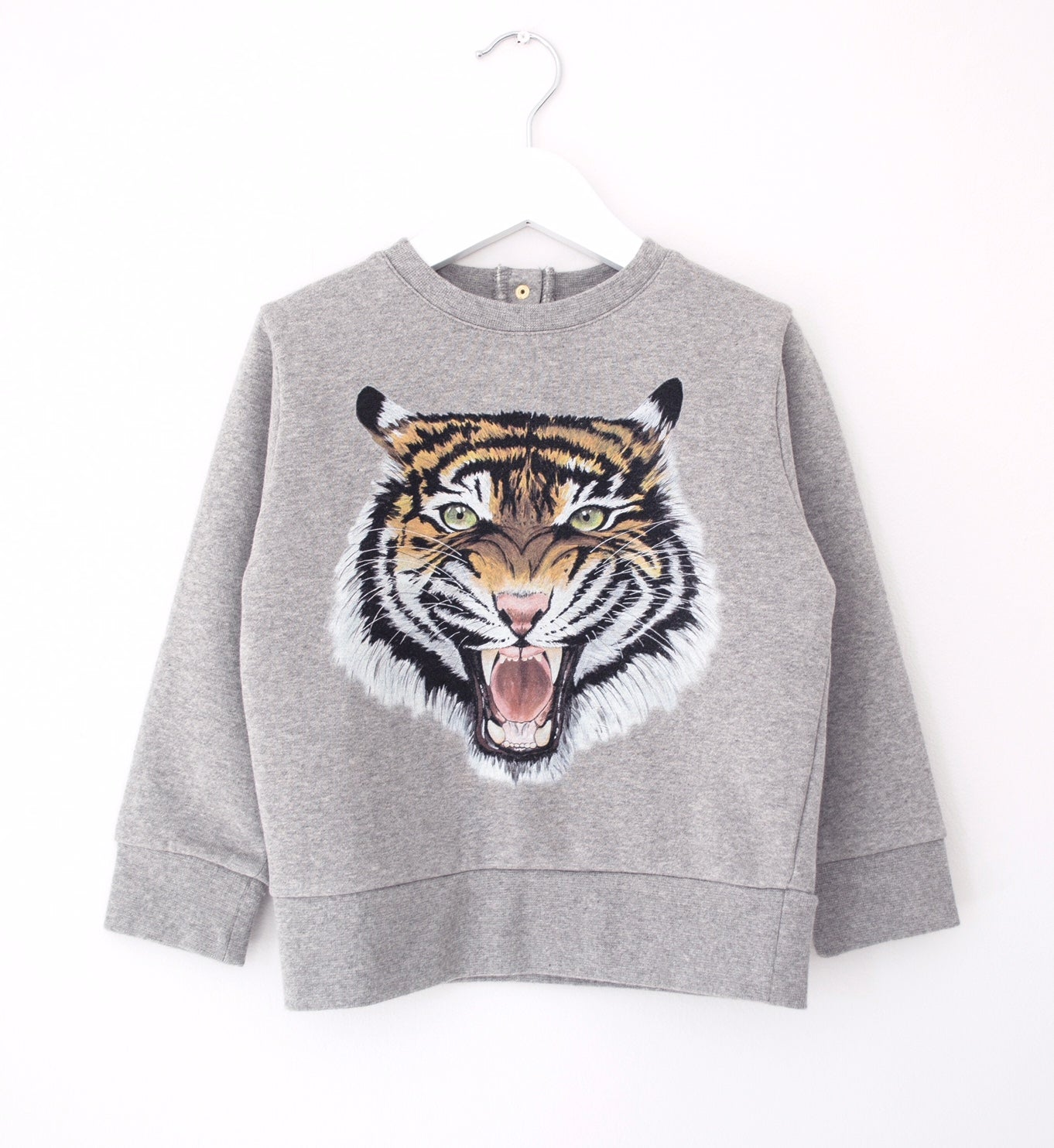 grey tiger children's sweat soft organic premium cotton in a modern shape with the best tiger face you will find ever!