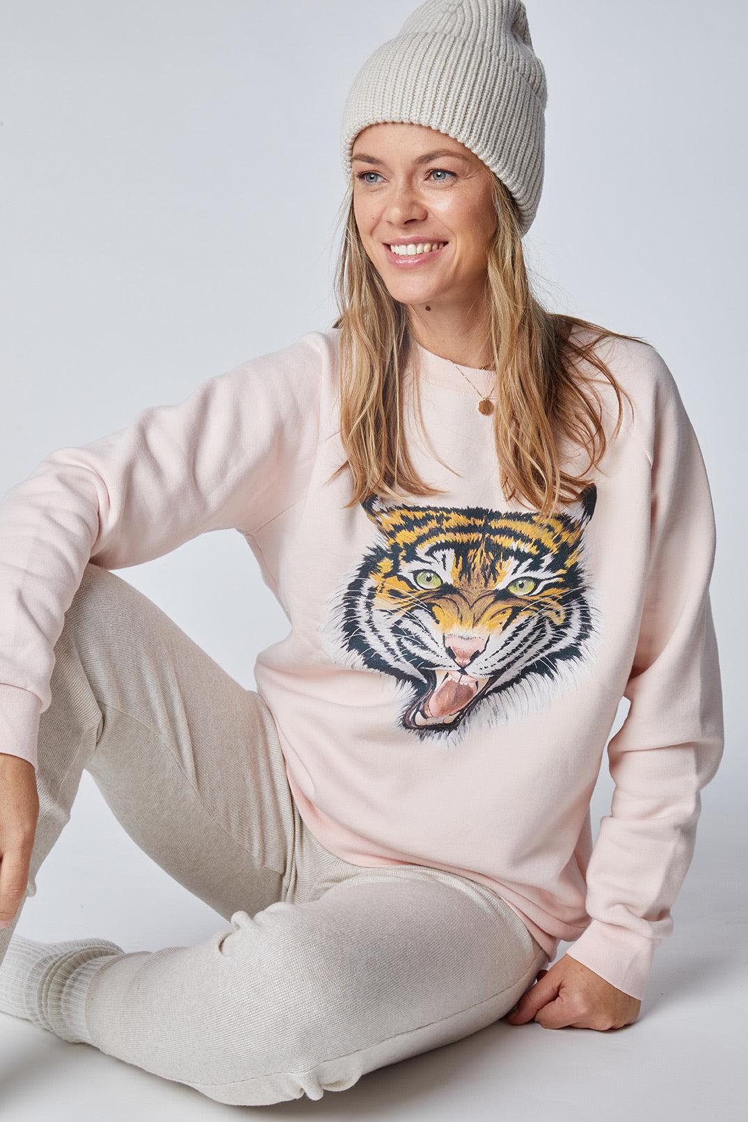 Women's LUX Oversized Pink Tiger Sweatshirt