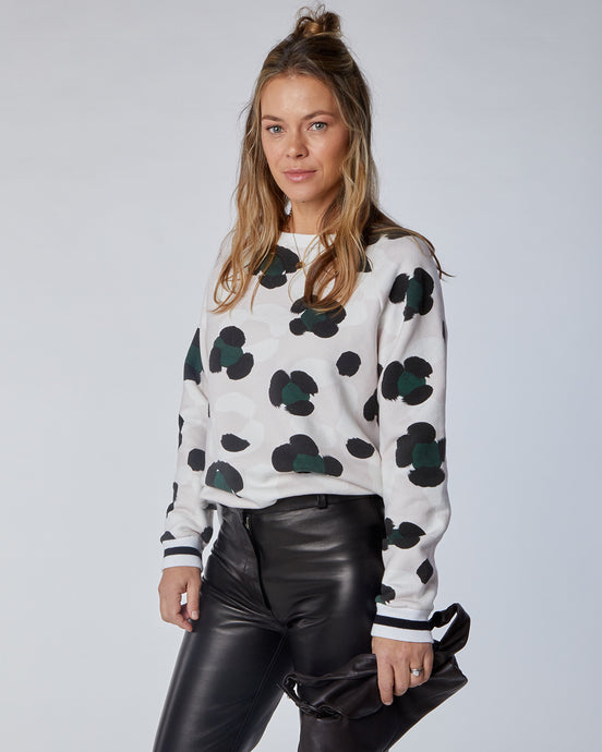 Women's Oversized Putty Pink and Green Leopard Splodge Print LUX Sweat