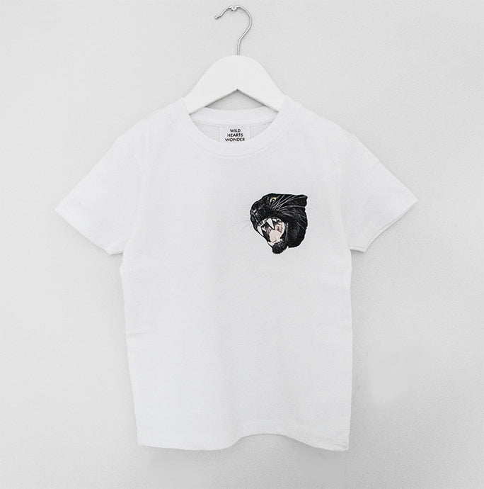 Kid's Panther Crest Twinning Cotton T-Shirt