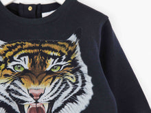 Children's tiger soft cotton jersey unisex sweatshirt, this jumper has a modern shape with lots of intricate detail