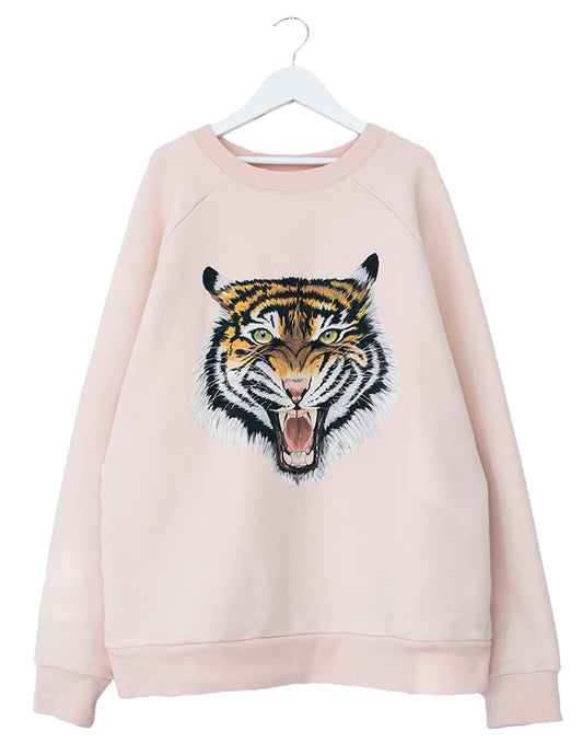 amazing women's sweat in pale pink with a statement tiger perfect for a summer throw on!