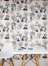 Our Woodland print story is inspired by a teddy bears picnic, an old fashioned and well loved theme, recreated with a modern edge.  This unisex wallpaper is perfect for a children's bedroom or playroom.