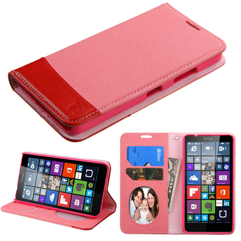 For Lumia 640 T-Mobile/MetroPCS Pink/Red MyJacket wallet (with card slot)
