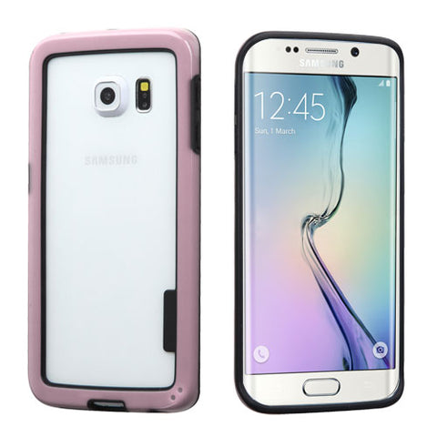 For G925 Galaxy S6 Edge Black/Solid Pink MyBumper Phone Protector Cover