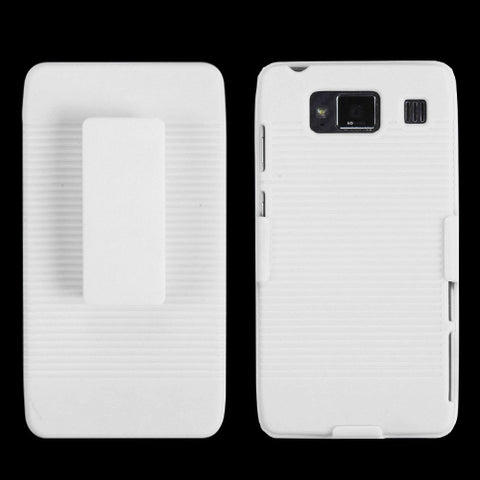 For XT926M Droid Razr Maxx HD Rubberized Solid Ivory White Hybrid Holster
