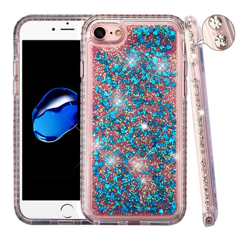 For iPhone 7 / 8 Diamond Liquid Bling Glitter Hybrid Rubber Protector Case Cover