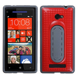 For Windows Phone 8X Red Snap Tail Stand Hard Silicone Protector Cover Case