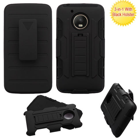 For Motorola G5 Advanced Impact Armor Stand Protector Case Cover Holster Combo