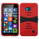For Lumia 640 AT&T/Cricket Black/Red Wave Symbiosis Protector Cover (with Stand)
