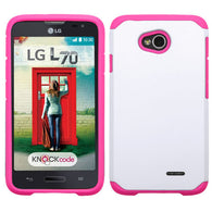 For Optimus Exceed 2 MS323 L70 Natural Ivory White/Hot Pink Astronoot Case Cover