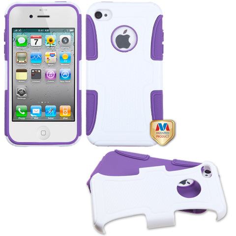 For iPhone 4s/4 Solid Ivory White/Electric Purple Frosted Fusion Protector Cover