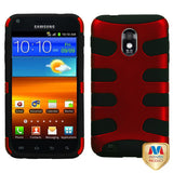 For Epic 4G Touch Galaxy S2 Titanium Red/Black Fishbone Phone Protector Cover