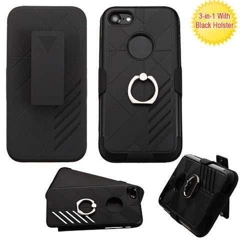 For iPhone 7 / 8 Hybrid Impact Protector Cover Case w/ Holster & Ring Stand