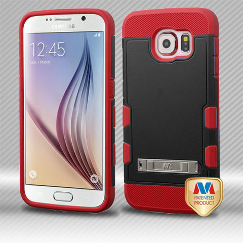 For G920 Galaxy S6 Natural Black/Red TUFF Trooper Hybrid Case Cover (with Stand)