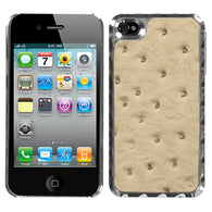 For iPhone 4S/4 Sandybrown Silver Plating Ostrich Leather Alloy Back Case