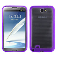 For Galaxy Note 2 Horizontal Stripes Transparent Clear/Solid Purple Gummy Cover