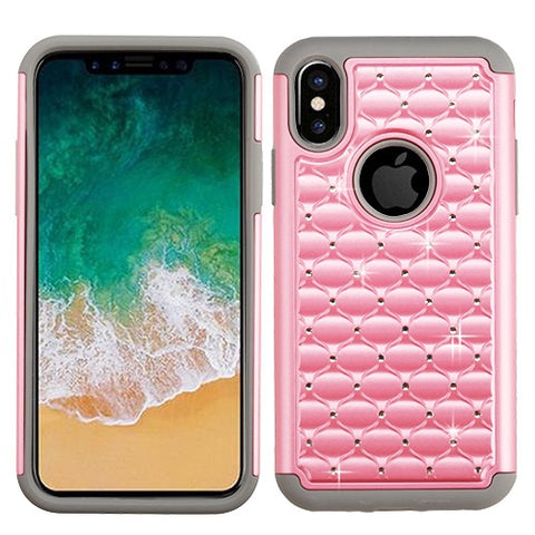 For iPhone XS/X FullStar Diamond Hard Rubber Impact Armor Protector Case Cover
