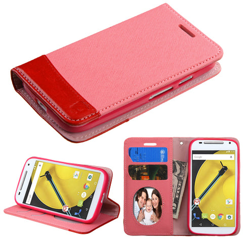 For Moto E 2nd GEN Pink/Red MyJacket wallet (with card slot)