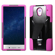 For 306 Aquos Crystal Hot Pink Inverse Advanced Armor Stand Protector Cover