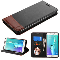For Galaxy S6 edge Plus Black/Brown MyJacket wallet (with card slot)