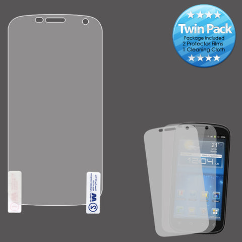 Twin Pack 2x LCD Screen Protector +cloth for ZTE Z777 Grand X, N9835 Grand S Pro