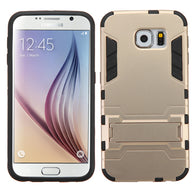 For G920 Galaxy S6 Gold/Black Iron-bear Stand Hybrid Protector Cover