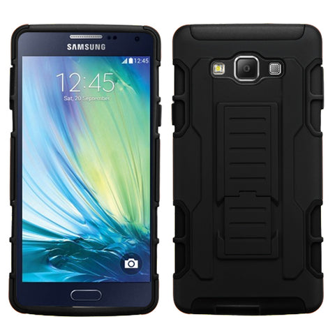 For A700 Galaxy A7 Black/Black Car Armor Stand Protector Cover (Rubberized)