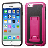 For iPhone 6S/6 Hot Pink/Black Leather Backing/Black Armor Stand Case Cover