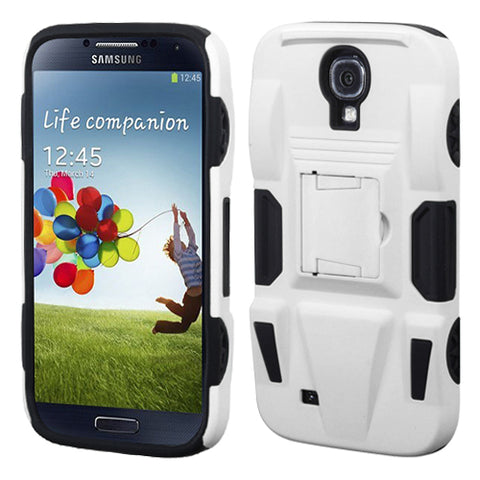 For Galaxy S4 White/Black Advanced Armor Stand Protector Cover (Rubberized)