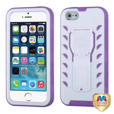 For iPhone 5S/5 Ivory White/Electric Purple TUFF Treadz Hybrid Case Cover